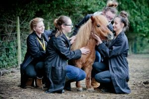 Myercough College students with a miniature pony