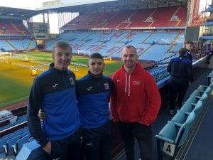 Matt Jefferson Physical Activity Coordinator with Football Academy Students Jack McKechnie and Josh Millward