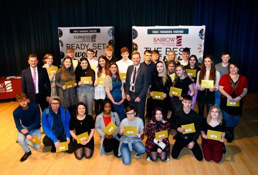 Furness College Principal and Chief Executive Andrew Wren with winners of the prize fund