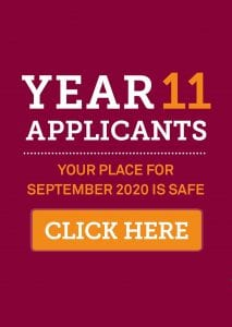 Year 11 Applicants your place is safe