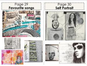 Art classwork (Favourite songs and Self Portrait)