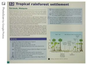 Geography work example - Tropical Rainforest Settlement