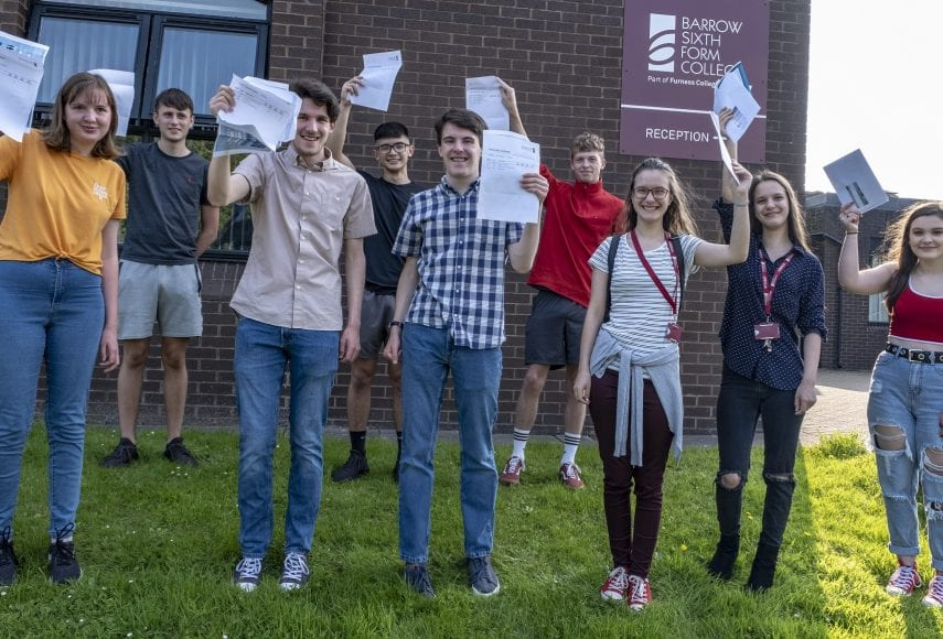Sixth form students celebrating A Level results success