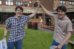 Twins Jason and Cameron Pollock celebrate on A Level results day