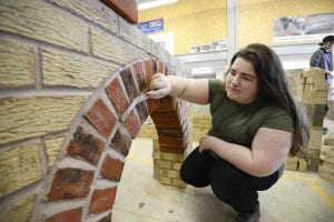 Furness College student on the brickwork course