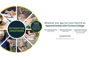 Apprenticeships graphic with information on Furness College offer