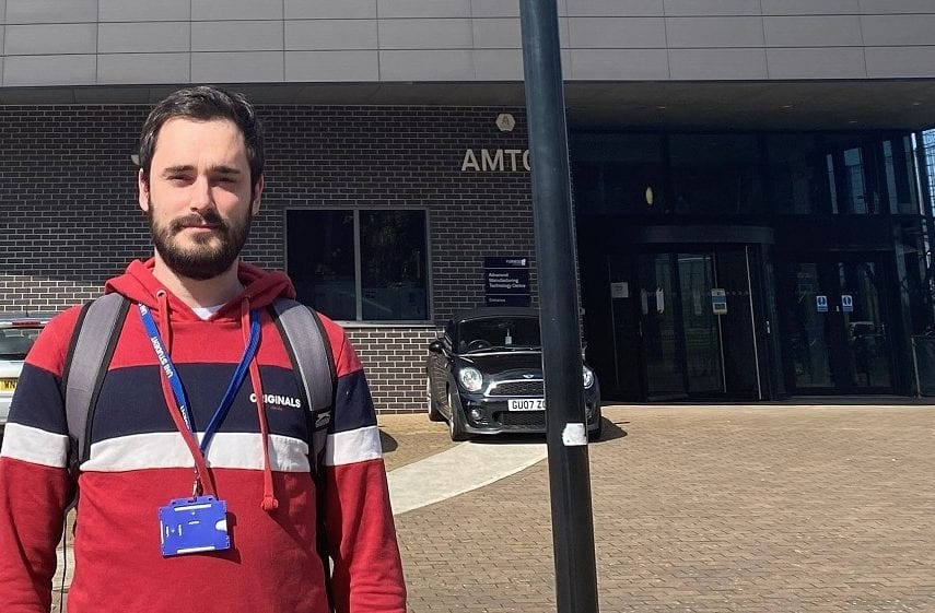 Electrical engineering degree student James Tracey outside the AMTC